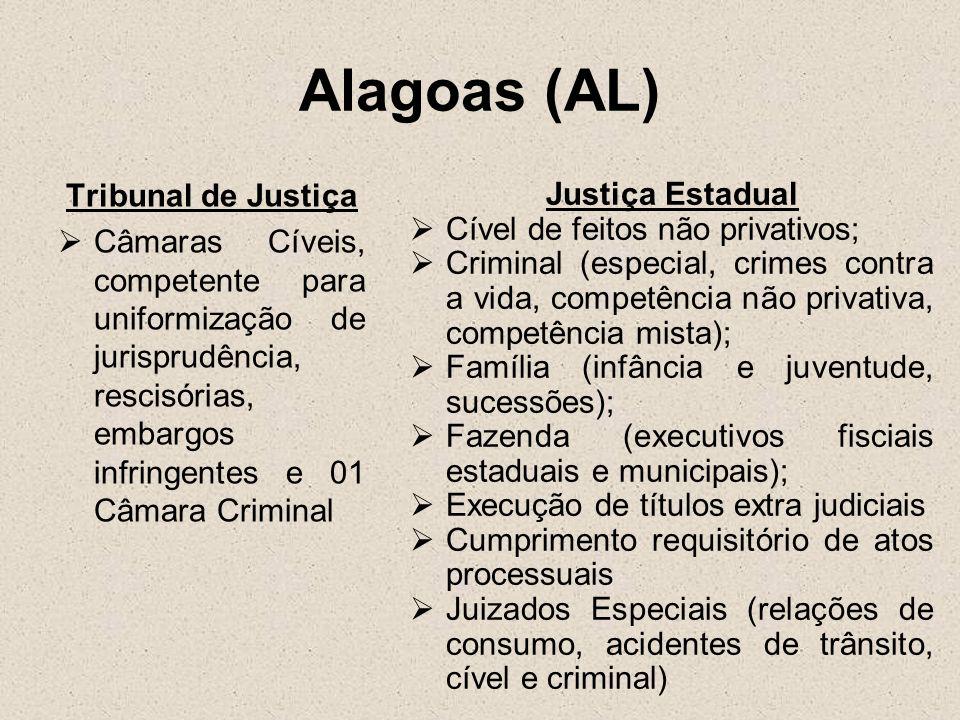 Alagoas (AL) Tribunal de Justiça Câmaras Cíveis, competente para uniformização de jurisprudência, rescisórias, embargos infringentes e 01 Câmara Crimi