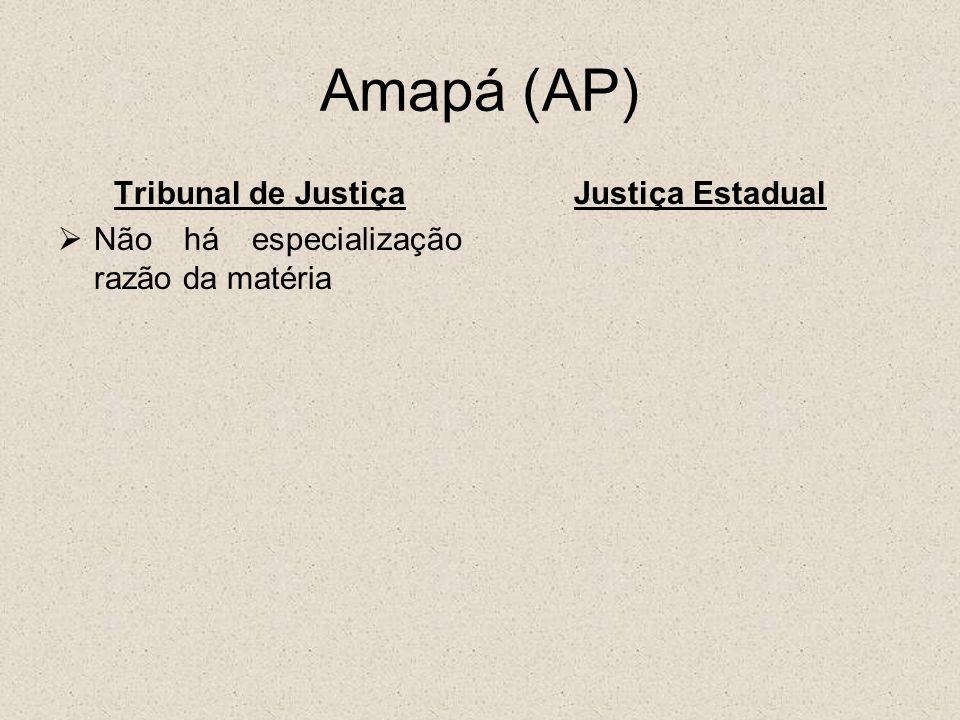 Pará (PA) Tribunal de Justiça Não há especialização razão da matéria Justiça Estadual Cível (família, feitos cíveis, falências e concordatas e executivos fiscais); Penal;