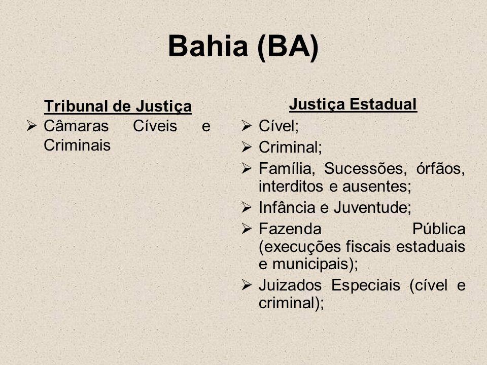 Ceará (CE) Tribunal de Justiça Não há especialização razão da matéria Justiça Estadual Cível; Criminal; Família e Sucessões; Falências e Concordatas Infância e Juventude; Fazenda Pública (execuções fiscais estaduais e municipais) Juizados Especiais (cível e criminal)