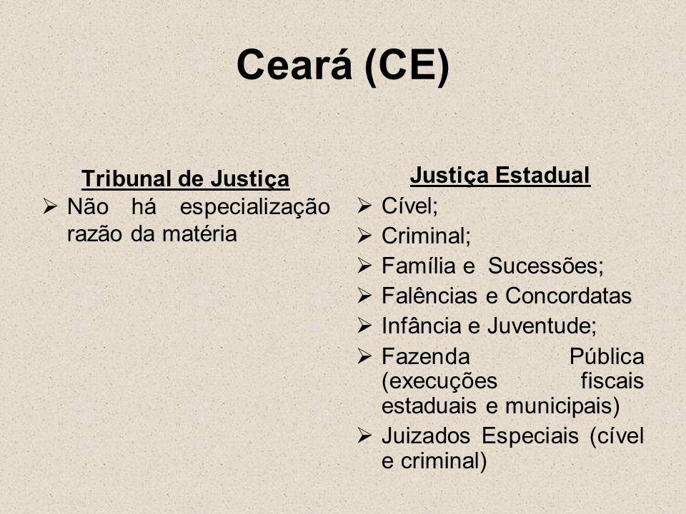 Ceará (CE) Tribunal de Justiça Não há especialização razão da matéria Justiça Estadual Cível; Criminal; Família e Sucessões; Falências e Concordatas I