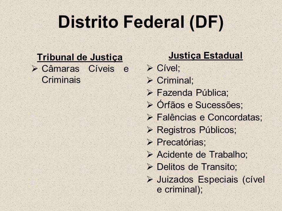 Distrito Federal (DF) Tribunal de Justiça Câmaras Cíveis e Criminais Justiça Estadual Cível; Criminal; Fazenda Pública; Órfãos e Sucessões; Falências