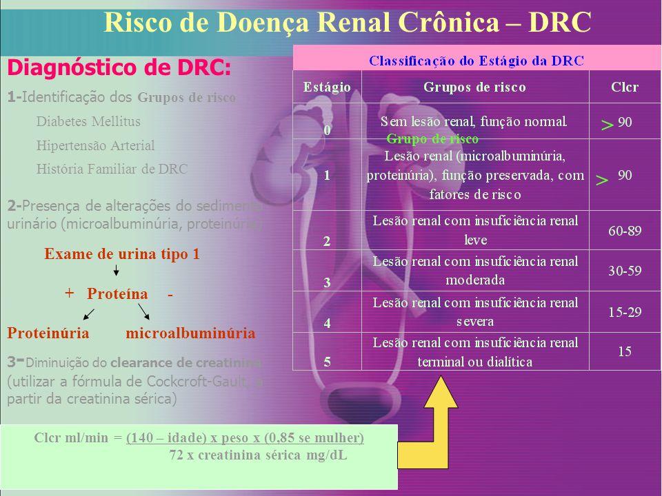 Risco de Doença Renal Crônica – DRC Clcr ml/min = (140 – idade) x peso x (0,85 se mulher) 72 x creatinina sérica mg/dL 2-Presença de alterações do sed