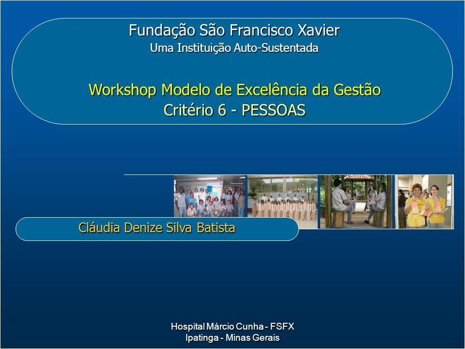 Fundação São Francisco Xavier Uma Instituição Auto-Sustentada Workshop Modelo de Excelência da Gestão Critério 6 - PESSOAS Cláudia Denize Silva Batist