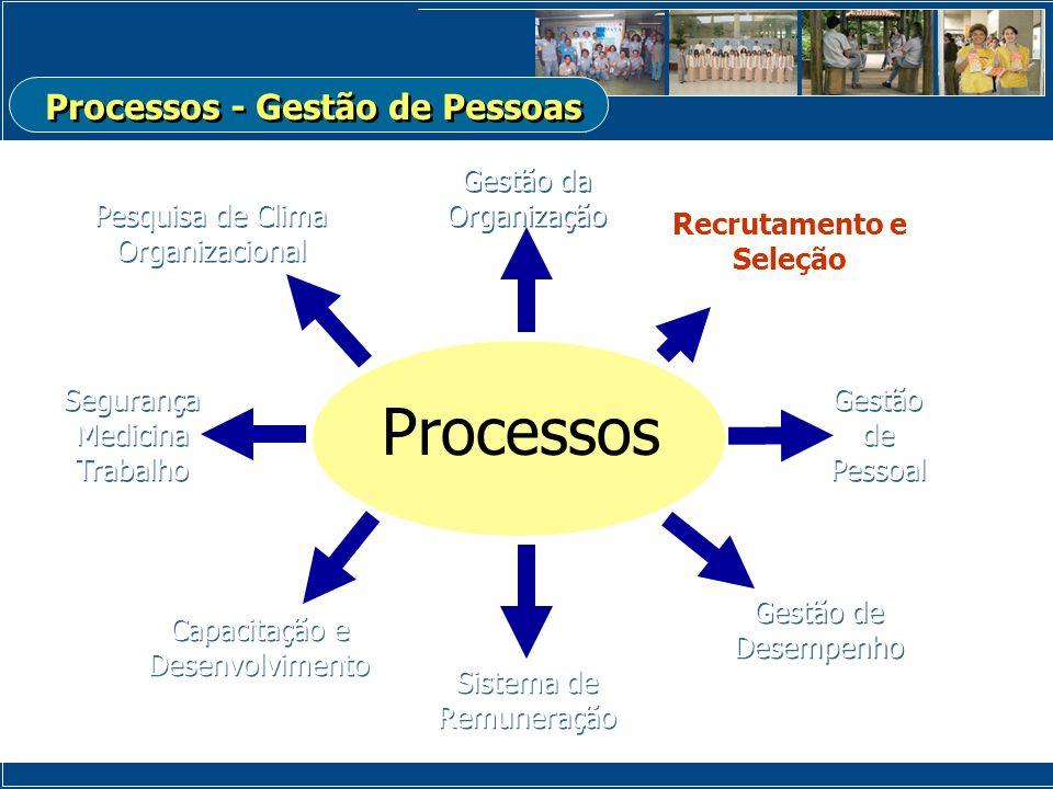 Gestão da Organização Processos Recrutamento e Seleção Gestão de Pessoal Gestão de Pessoal Capacitação e Desenvolvimento Sistema de Remuneração Gestão