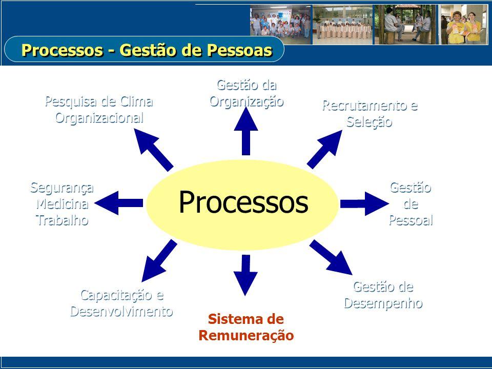 Gestão da Organização Processos Recrutamento e Seleção Recrutamento e Seleção Gestão de Pessoal Gestão de Pessoal Capacitação e Desenvolvimento Sistem