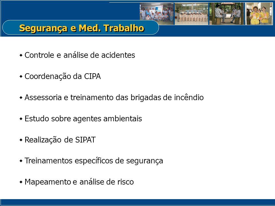 Controle e análise de acidentes Coordenação da CIPA Assessoria e treinamento das brigadas de incêndio Estudo sobre agentes ambientais Realização de SI