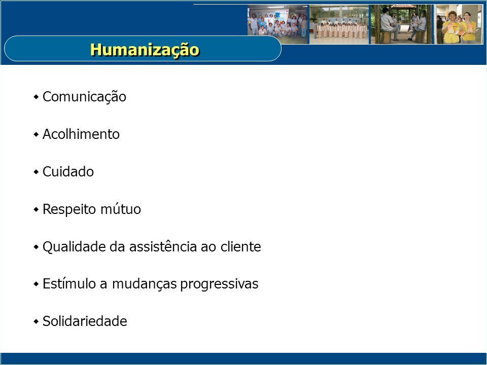 Comunicação Acolhimento Cuidado Respeito mútuo Qualidade da assistência ao cliente Estímulo a mudanças progressivas Solidariedade Humanização