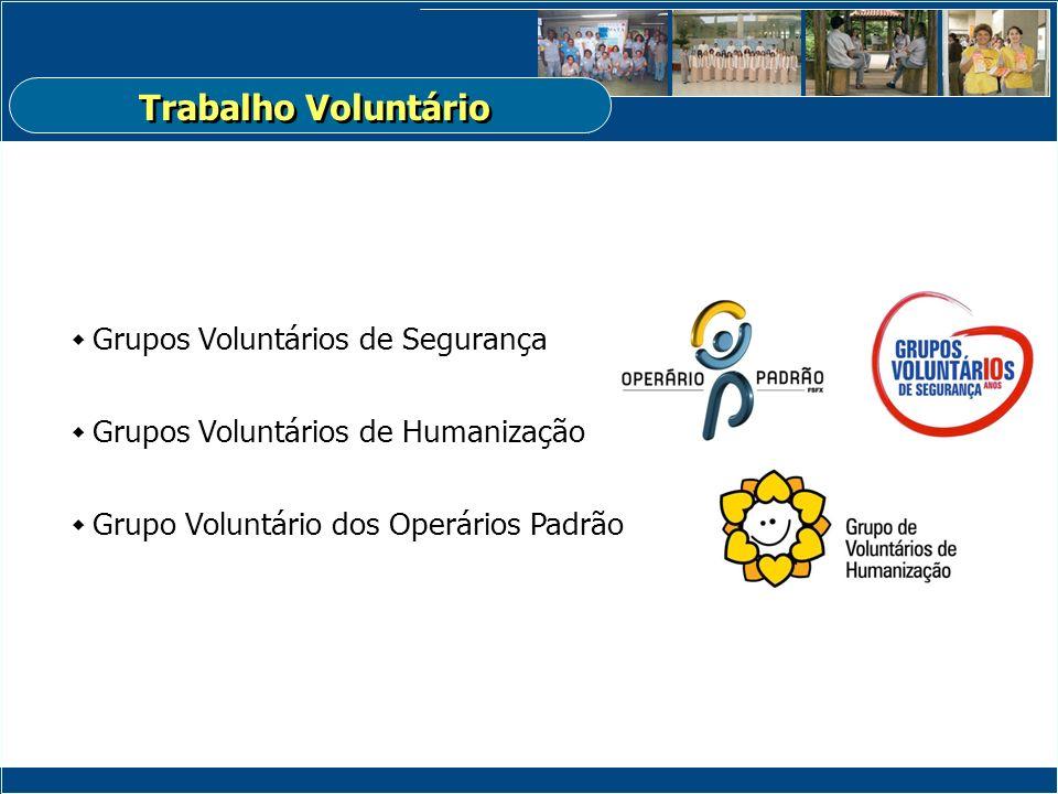 Grupos Voluntários de Segurança Grupos Voluntários de Humanização Grupo Voluntário dos Operários Padrão Trabalho Voluntário