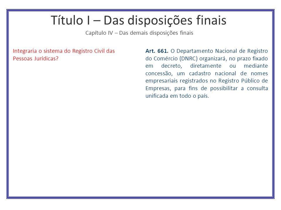 Título I – Das disposições finais Capítulo IV – Das demais disposições finais Integraria o sistema do Registro Civil das Pessoas Jurídicas? Art. 661.