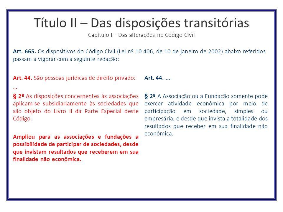 Título II – Das disposições transitórias Capítulo I – Das alterações no Código Civil Art. 44. São pessoas jurídicas de direito privado: … § 2º As disp