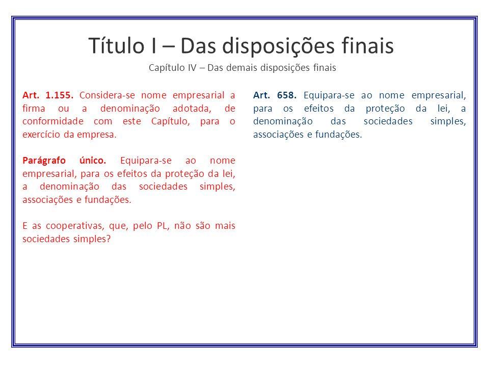 Título I – Das disposições finais Capítulo IV – Das demais disposições finais Art. 658. Equipara-se ao nome empresarial, para os efeitos da proteção d