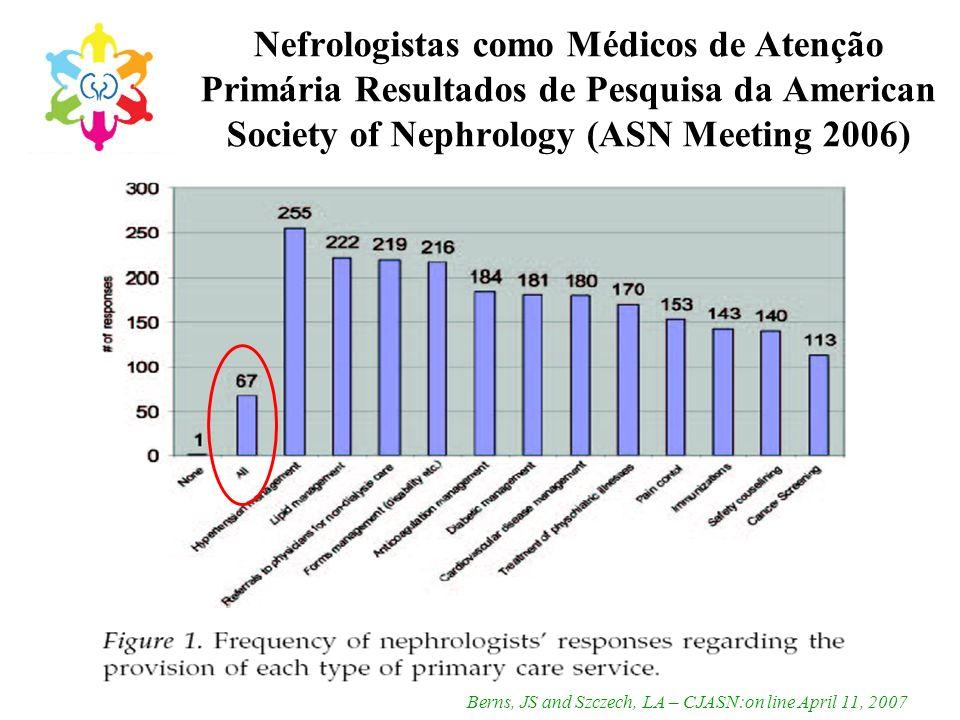 Nefrologistas como Médicos de Atenção Primária Resultados de Pesquisa da American Society of Nephrology (ASN Meeting 2006) Berns, JS and Szczech, LA –