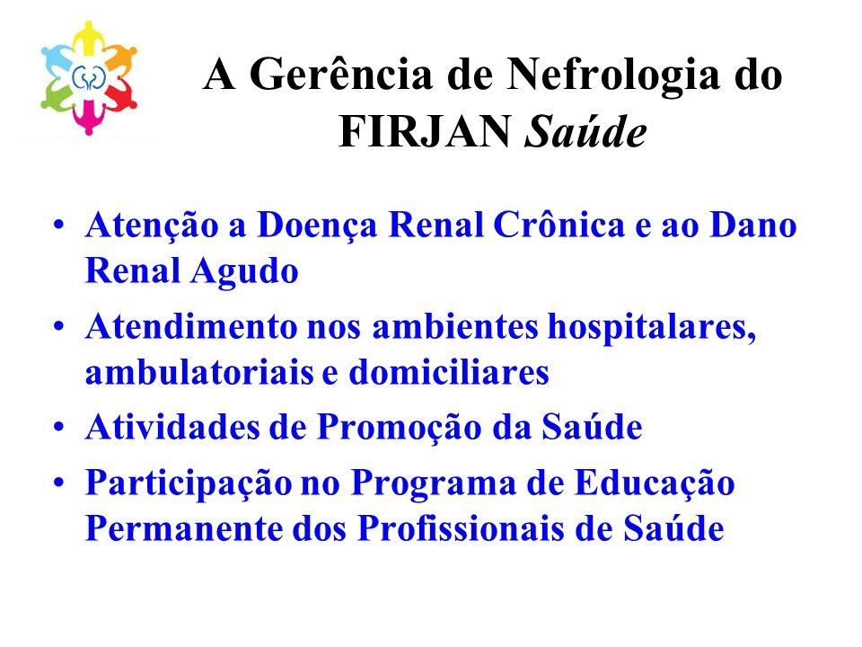 A Gerência de Nefrologia do FIRJAN Saúde Atenção a Doença Renal Crônica e ao Dano Renal Agudo Atendimento nos ambientes hospitalares, ambulatoriais e