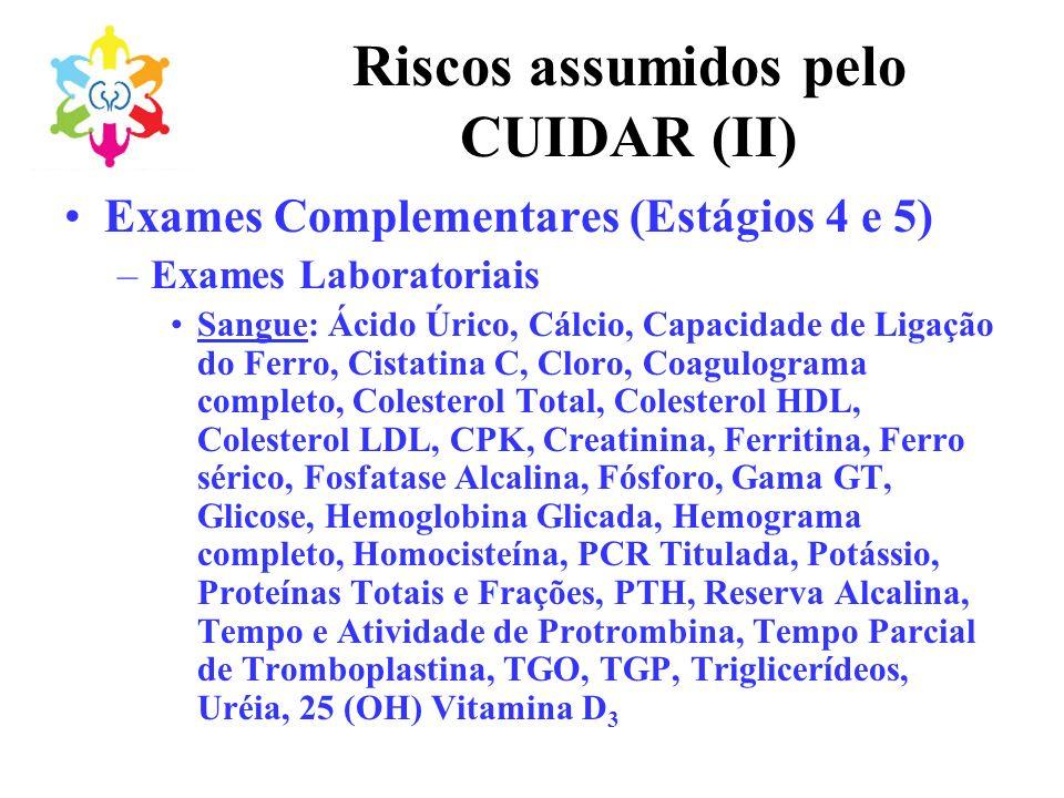 Riscos assumidos pelo CUIDAR (II) Exames Complementares (Estágios 4 e 5) –Exames Laboratoriais Sangue: Ácido Úrico, Cálcio, Capacidade de Ligação do F
