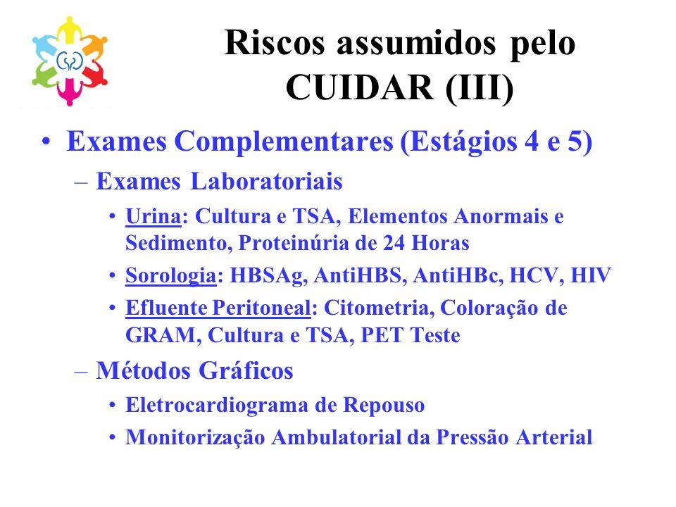 Riscos assumidos pelo CUIDAR (III) Exames Complementares (Estágios 4 e 5) –Exames Laboratoriais Urina: Cultura e TSA, Elementos Anormais e Sedimento,