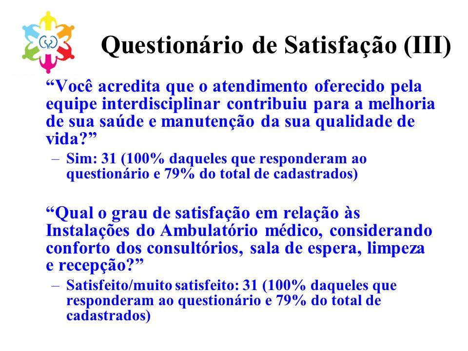 Questionário de Satisfação (III) Você acredita que o atendimento oferecido pela equipe interdisciplinar contribuiu para a melhoria de sua saúde e manu