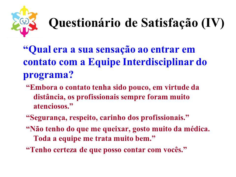 Questionário de Satisfação (IV) Qual era a sua sensação ao entrar em contato com a Equipe Interdisciplinar do programa? Embora o contato tenha sido po