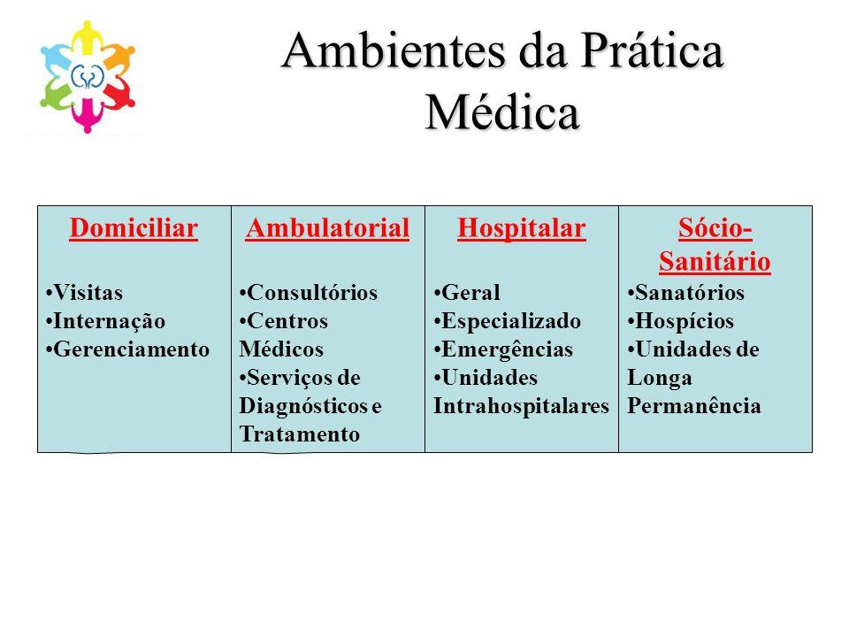Ambientes da Prática Médica Domiciliar Visitas Internação Gerenciamento Ambulatorial Consultórios Centros Médicos Serviços de Diagnósticos e Tratament