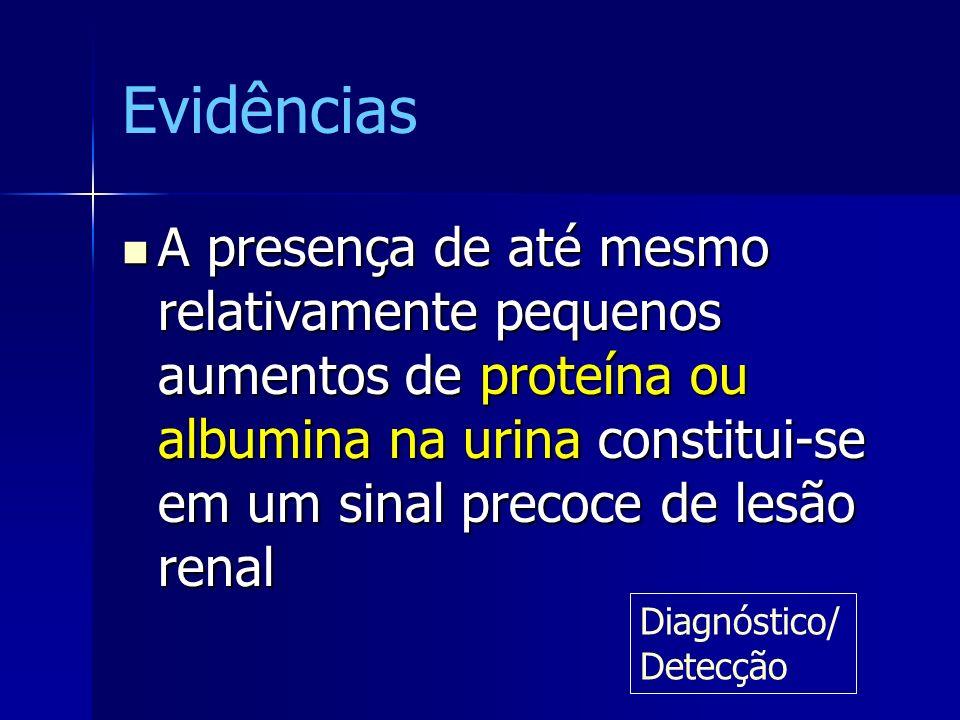 Evidências A presença de até mesmo relativamente pequenos aumentos de proteína ou albumina na urina constitui-se em um sinal precoce de lesão renal A