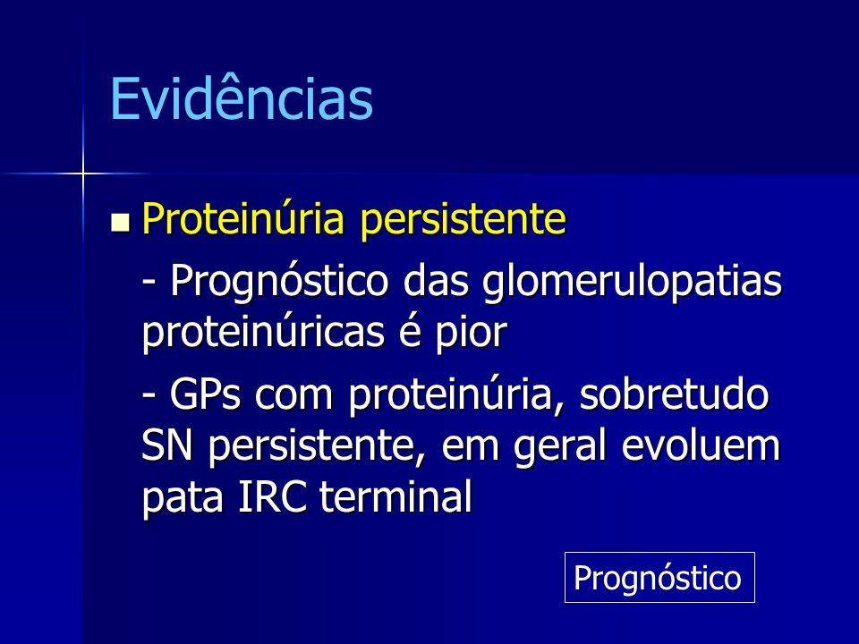 Evidências Proteinúria persistente Proteinúria persistente - Prognóstico das glomerulopatias proteinúricas é pior - GPs com proteinúria, sobretudo SN