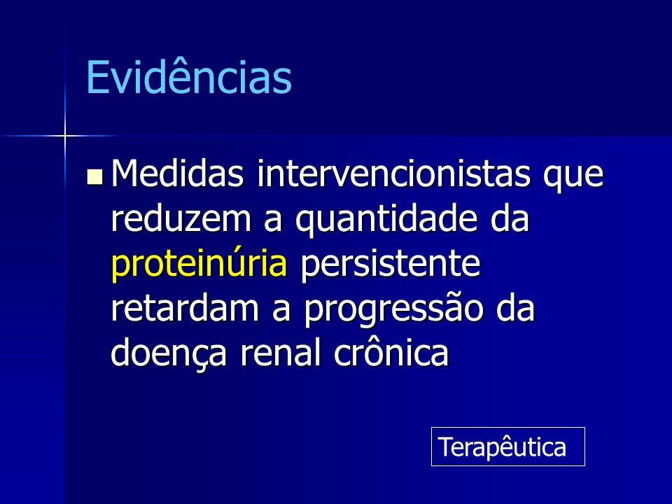 Evidências Medidas intervencionistas que reduzem a quantidade da proteinúria persistente retardam a progressão da doença renal crônica Medidas interve