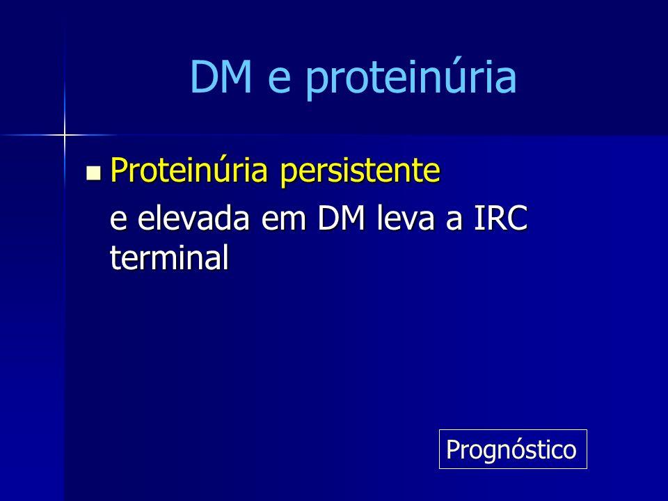 Proteinúria persistente Proteinúria persistente e elevada em DM leva a IRC terminal Prognóstico DM e proteinúria