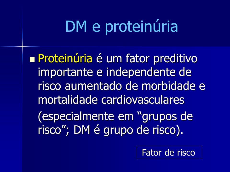 Proteinúria é um fator preditivo importante e independente de risco aumentado de morbidade e mortalidade cardiovasculares Proteinúria é um fator predi