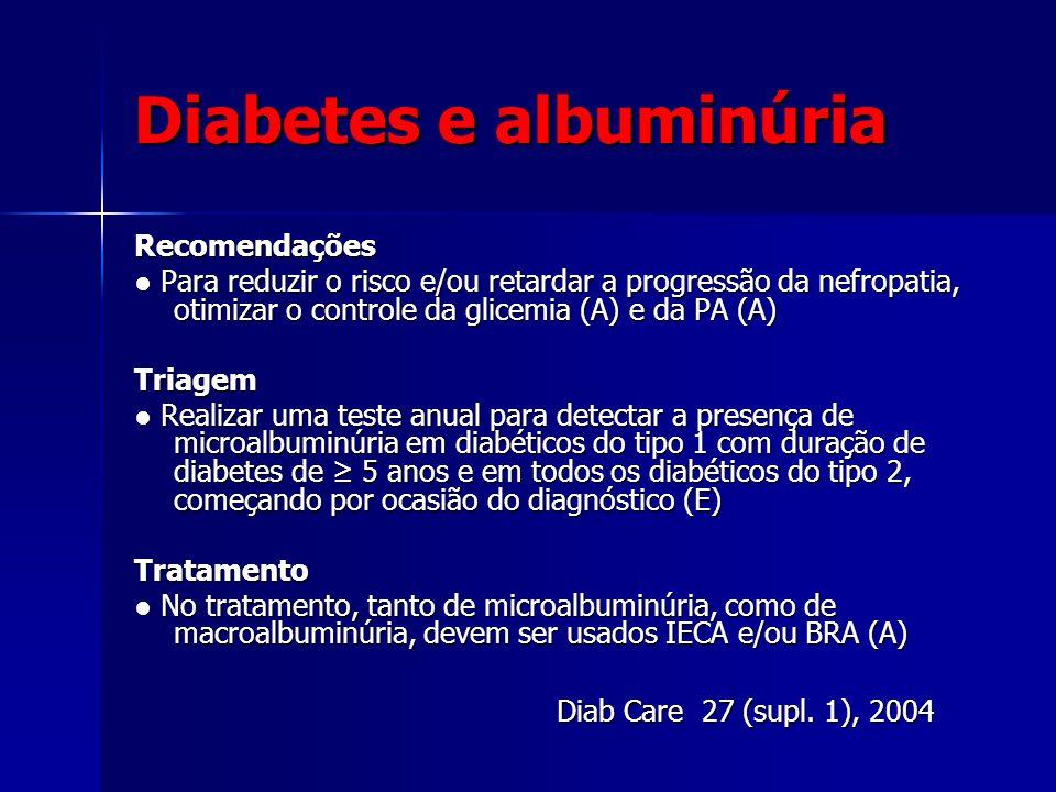 Diabetes e albuminúria Recomendações Para reduzir o risco e/ou retardar a progressão da nefropatia, otimizar o controle da glicemia (A) e da PA (A) Pa