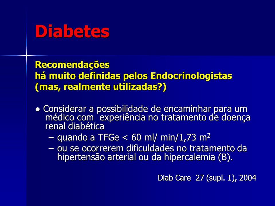 Diabetes Recomendações há muito definidas pelos Endocrinologistas (mas, realmente utilizadas?) Considerar a possibilidade de encaminhar para um médico