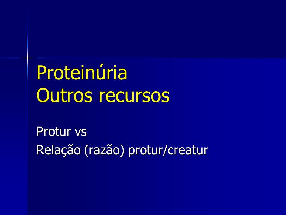 Proteinúria Outros recursos Protur vs Relação (razão) protur/creatur