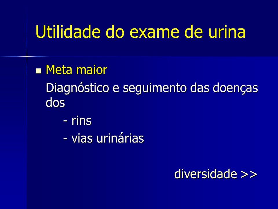 Utilidade do exame de urina Meta maior Meta maior Diagnóstico e seguimento das doenças dos - rins - vias urinárias diversidade >>