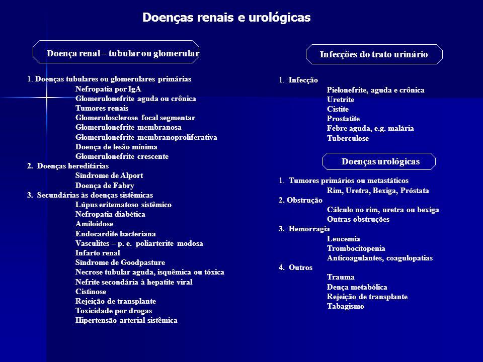 Classificação das hematúrias Segundo diversos critérios: Quanto ao tipo Microscópica ou macroscópica Microscópica ou macroscópica Contínua ou intermitente Contínua ou intermitente Quanto à sintomatologia Assintomática Assintomática Acompanhada de sinais e sintomas Acompanhada de sinais e sintomas Quanto à origem Glomerular Glomerular Extraglomerular Extraglomerular Quanto à ocorrência ou não de dismorfismo eritrocitário Dismórfica Dismórfica Eumórfica Eumórfica