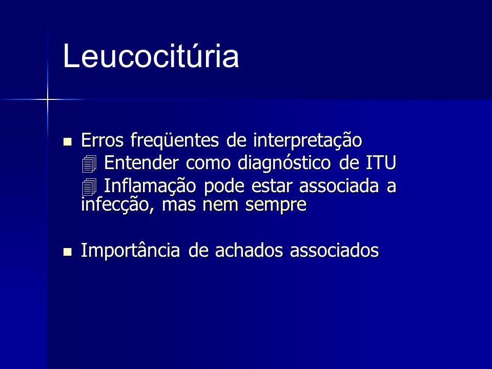Leucocitúria Erros freqüentes de interpretação Erros freqüentes de interpretação Entender como diagnóstico de ITU Entender como diagnóstico de ITU Inf
