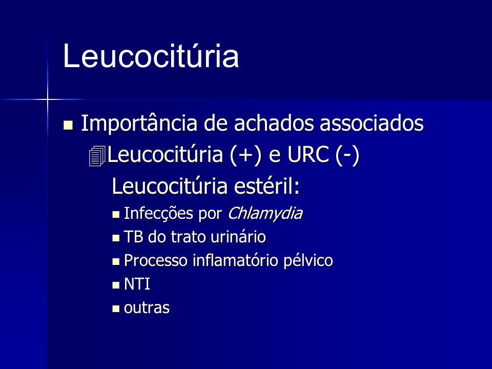 Leucocitúria Importância de achados associados Importância de achados associados Leucocitúria (+) e URC (-) Leucocitúria (+) e URC (-) Leucocitúria es
