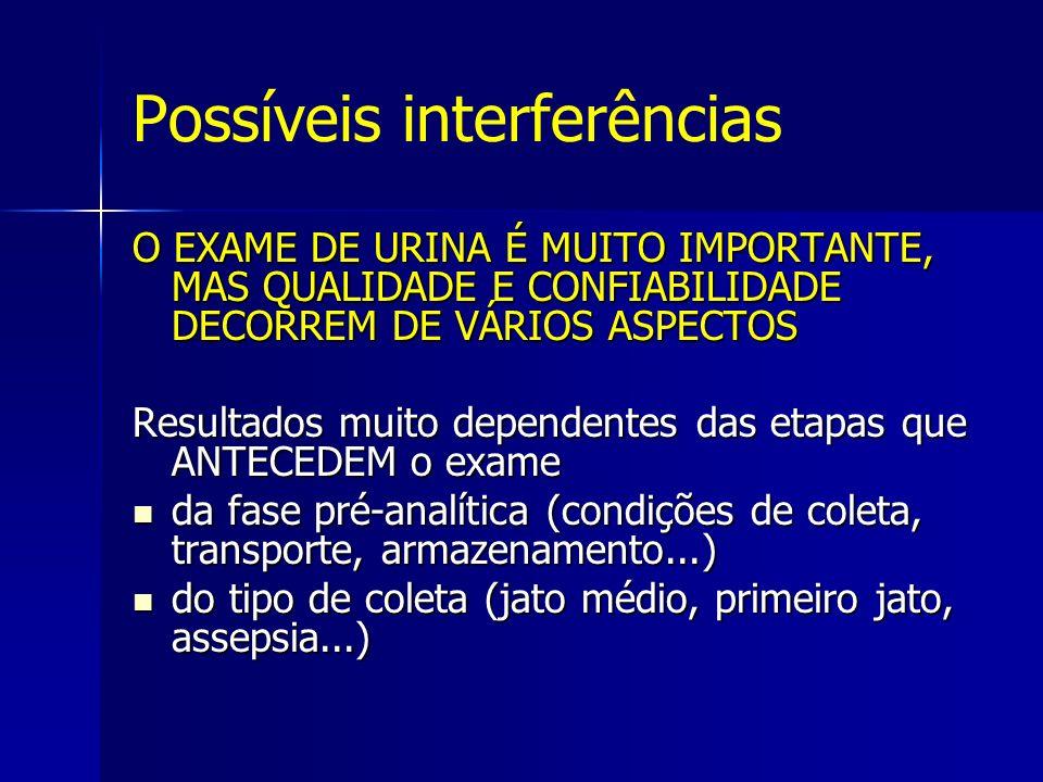 Possíveis interferências O EXAME DE URINA É MUITO IMPORTANTE, MAS QUALIDADE E CONFIABILIDADE DECORREM DE VÁRIOS ASPECTOS Resultados muito dependentes