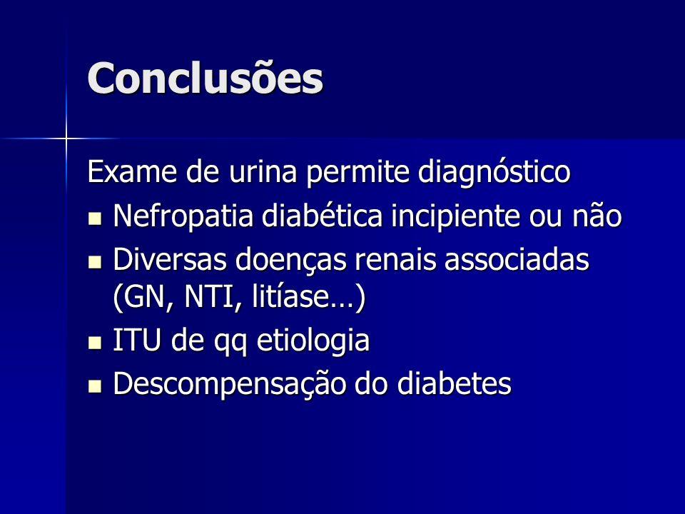 Conclusões Exame de urina permite diagnóstico Nefropatia diabética incipiente ou não Nefropatia diabética incipiente ou não Diversas doenças renais as