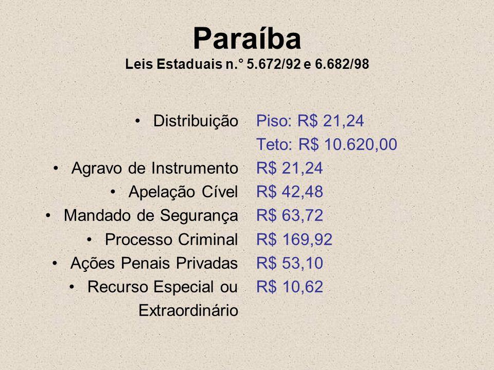 Paraíba Leis Estaduais n.° 5.672/92 e 6.682/98 Distribuição Agravo de Instrumento Apelação Cível Mandado de Segurança Processo Criminal Ações Penais P