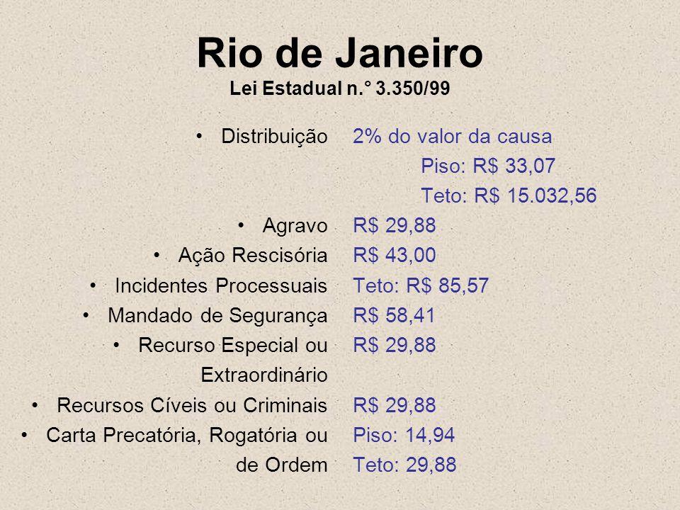 Rio de Janeiro Lei Estadual n.° 3.350/99 Distribuição Agravo Ação Rescisória Incidentes Processuais Mandado de Segurança Recurso Especial ou Extraordi