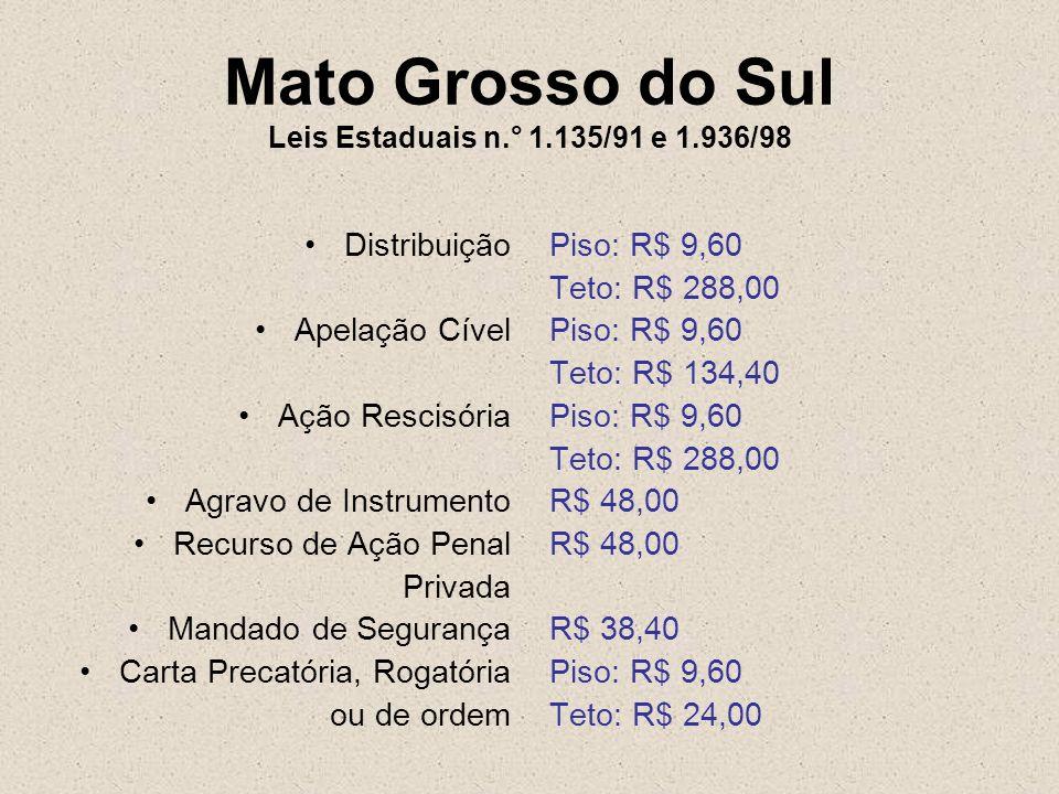 Mato Grosso do Sul Leis Estaduais n.° 1.135/91 e 1.936/98 Distribuição Apelação Cível Ação Rescisória Agravo de Instrumento Recurso de Ação Penal Priv