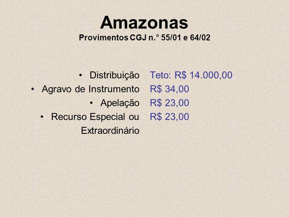 Amazonas Provimentos CGJ n.° 55/01 e 64/02 Distribuição Agravo de Instrumento Apelação Recurso Especial ou Extraordinário Teto: R$ 14.000,00 R$ 34,00