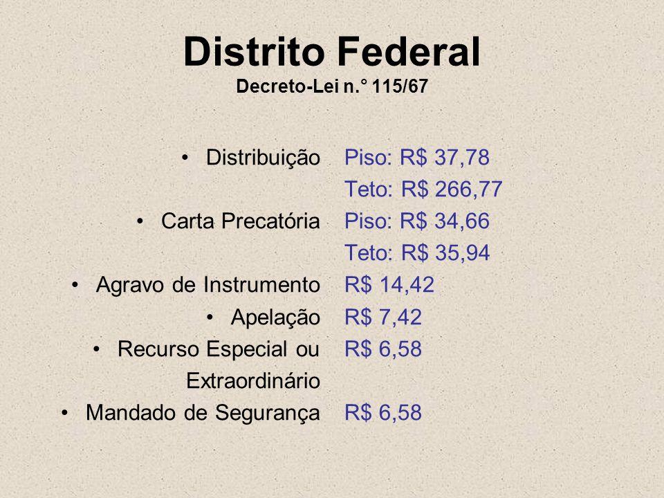 Distrito Federal Decreto-Lei n.° 115/67 Distribuição Carta Precatória Agravo de Instrumento Apelação Recurso Especial ou Extraordinário Mandado de Seg