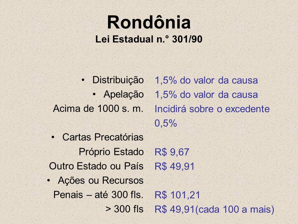 Rondônia Lei Estadual n.° 301/90 Distribuição Apelação Acima de 1000 s. m. Cartas Precatórias Próprio Estado Outro Estado ou País Ações ou Recursos Pe
