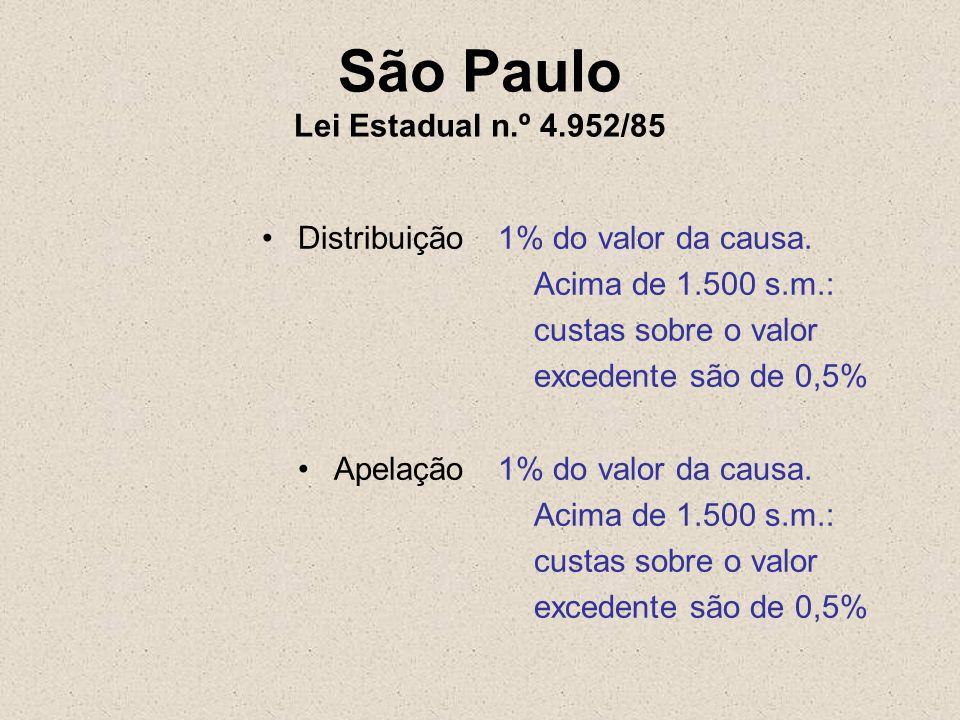 São Paulo Lei Estadual n.º 4.952/85 Distribuição Apelação 1% do valor da causa. Acima de 1.500 s.m.: custas sobre o valor excedentesão de 0,5% 1% do v