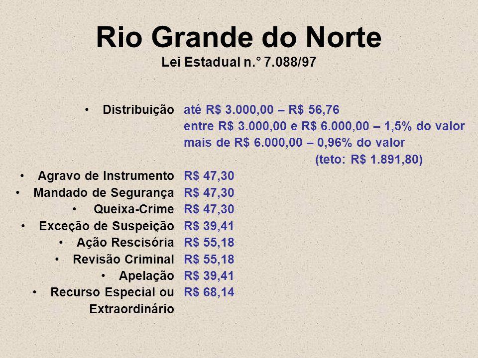 Rio Grande do Norte Lei Estadual n.° 7.088/97 Distribuição Agravo de Instrumento Mandado de Segurança Queixa-Crime Exceção de Suspeição Ação Rescisóri