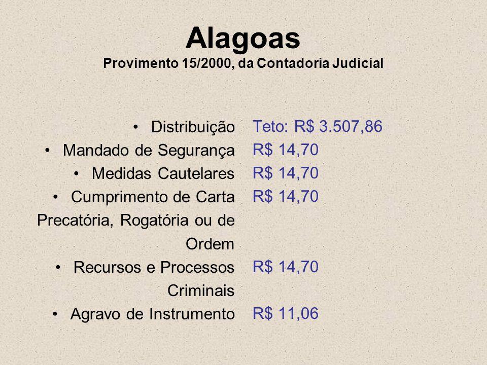 Alagoas Provimento 15/2000, da Contadoria Judicial Distribuição Mandado de Segurança Medidas Cautelares Cumprimento de Carta Precatória, Rogatória ou