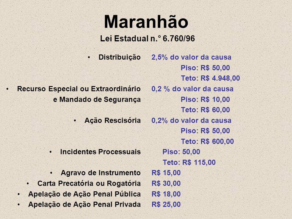 Maranhão Lei Estadual n.° 6.760/96 Distribuição Recurso Especial ou Extraordinário e Mandado de Segurança Ação Rescisória Incidentes Processuais Agrav