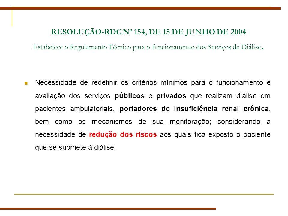RESOLUÇÃO-RDC Nº 154, DE 15 DE JUNHO DE 2004 Estabelece o Regulamento Técnico para o funcionamento dos Serviços de Diálise.