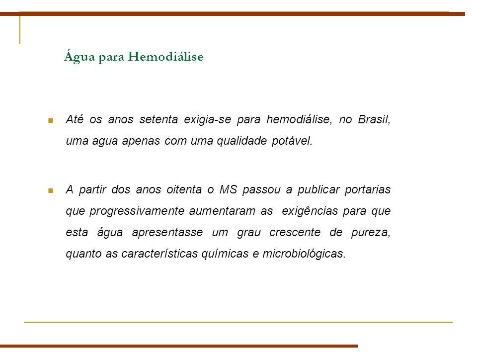 Água para Hemodiálise Até os anos setenta exigia-se para hemodiálise, no Brasil, uma agua apenas com uma qualidade potável. A partir dos anos oitenta