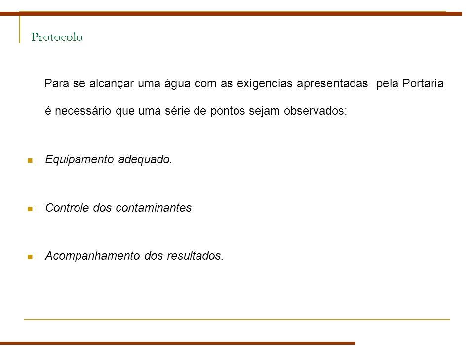 Protocolo Para se alcançar uma água com as exigencias apresentadas pela Portaria é necessário que uma série de pontos sejam observados: Equipamento adequado.