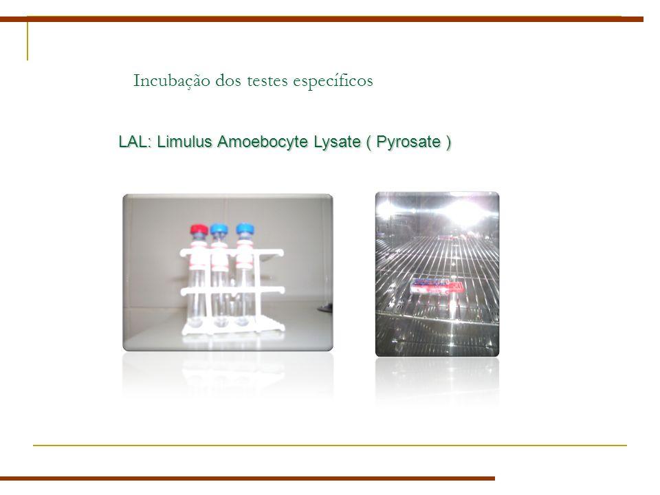 Incubação dos testes específicos LAL: Limulus Amoebocyte Lysate ( Pyrosate )